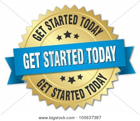 Get Started Today 3D Gold Badge With Blue Ribbon