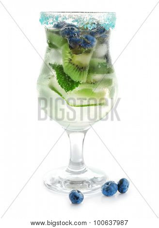 Kiwi and Blueberry cocktail isolated on white
