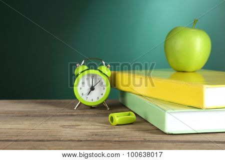 Back to school template on green chalkboard background