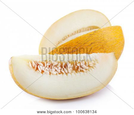 Sliced fresh melon isolated on white