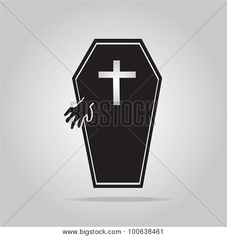 Casket And Hand For Halloween Symbol