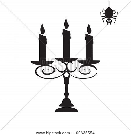 Candelabra And Spider For Halloween Symbol Illustration