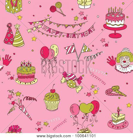Birthday Seamless Background - for design, scrapbook
