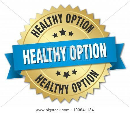 Healthy Option 3D Gold Badge With Blue Ribbon