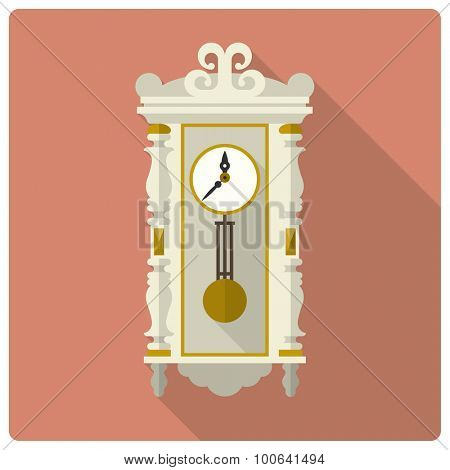 Retro styled flat design vector icon of vintage wall clock