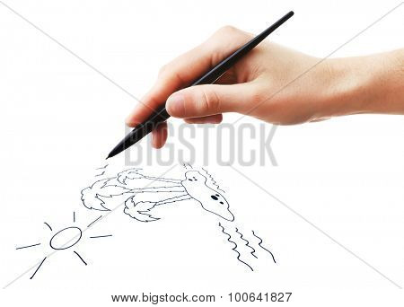 Female hand draw with pen isolated on white