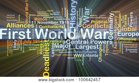 Background concept wordcloud illustration of First World War glowing light