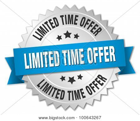Limited Time Offer 3D Silver Badge With Blue Ribbon