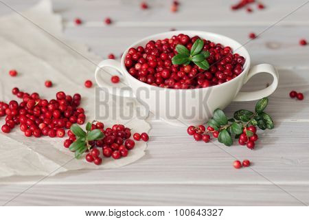 red lingonberries on wooden background