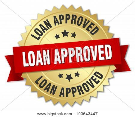 Loan Approved 3D Gold Badge With Red Ribbon