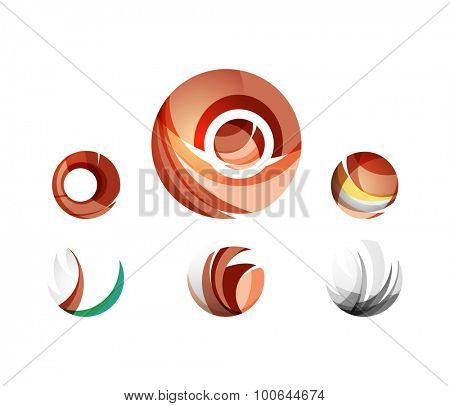 Set of globe sphere or circle logo business icons. Created with overlapping colorful abstract waves and swirl shapes