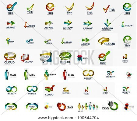 Large corporate company logo collection. Universal icon set for various ideas. Vector illustration
