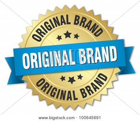 Original Brand 3D Gold Badge With Blue Ribbon
