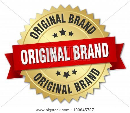 Original Brand 3D Gold Badge With Red Ribbon
