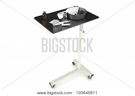 Insulated medical table with needles.