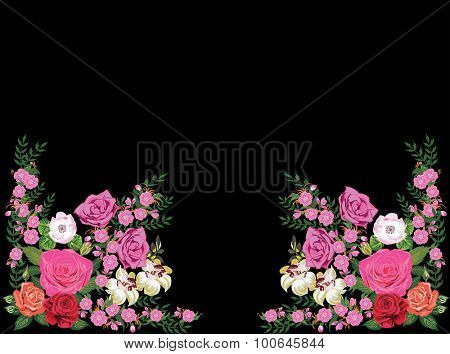 illustration with pink rose decorated ornament elements