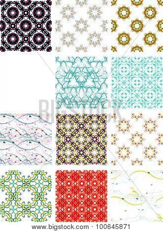 Set seamless geometric patterns - circles, swirls and floral textures. illustration