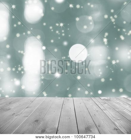 Wooden table  with abstract  blur background