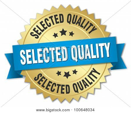 Selected Quality 3D Gold Badge With Blue Ribbon