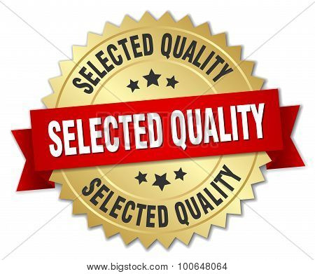 Selected Quality 3D Gold Badge With Red Ribbon