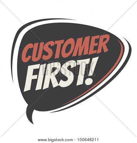 customer first retro speech balloon
