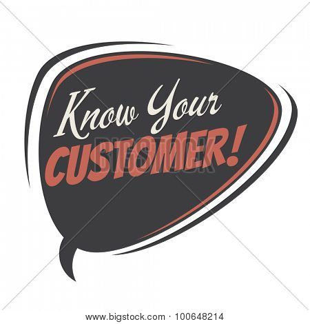 know your customer retro speech bubble