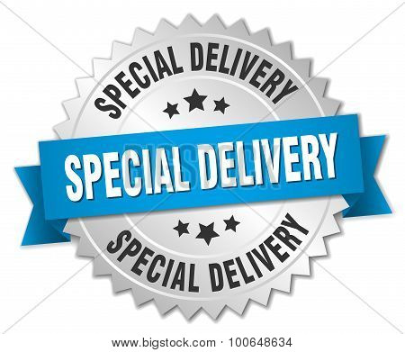 Special Delivery 3D Silver Badge With Blue Ribbon