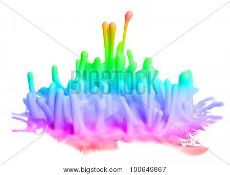 Explosions of color paints isolated on white
