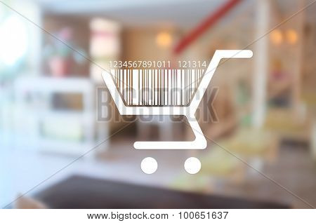 Shopping basket with bar code, on abstract background