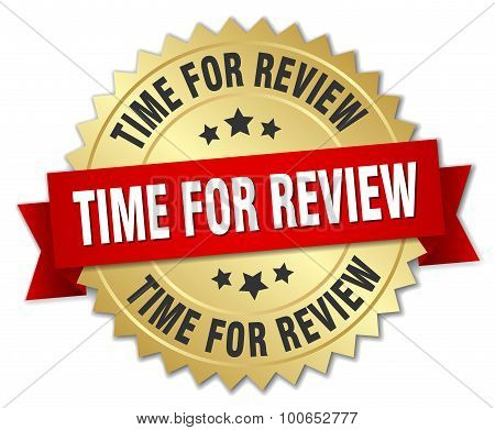 Time For Review 3D Gold Badge With Red Ribbon