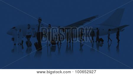 Business People Cabin Crew Transportation Airplane Concept