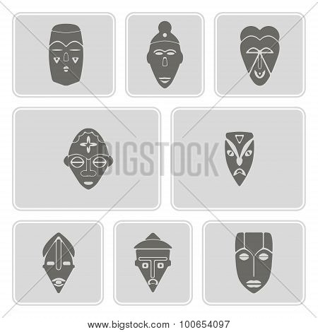 monochrome icon set with african ritual masks
