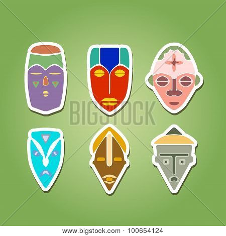 color icon set with african ritual masks