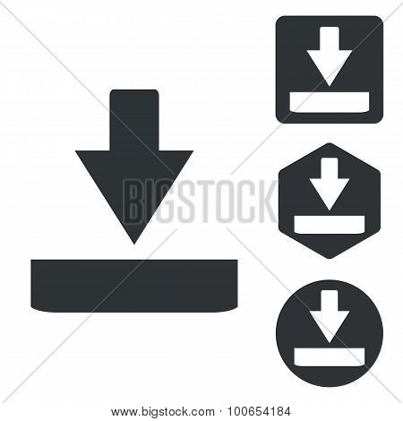 Download icon set, monochrome