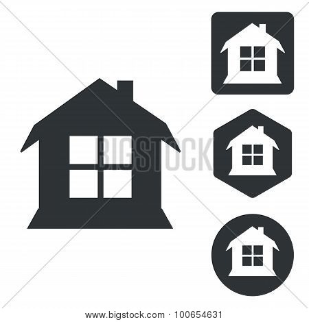 House icon set, monochrome