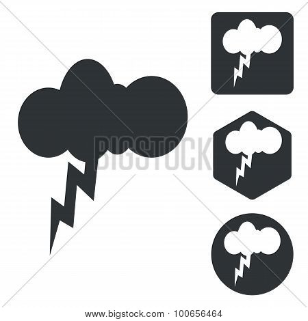 Thunderbolt icon set, monochrome