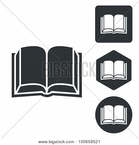 Book icon set, monochrome