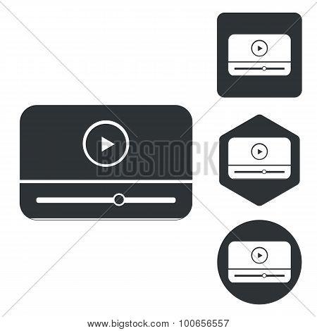 Mediaplayer icon set, monochrome