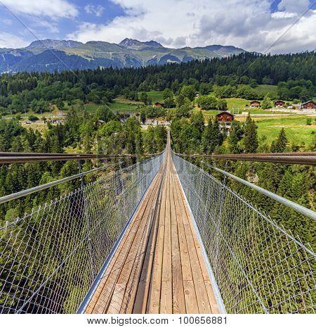 Suspended bridge over Lama gorge in Valais canton, Switzerland