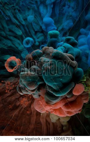 Color Paint In Water, Shot From Below
