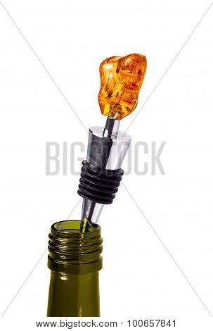 Bottle Of Wine With A Stopper From Amber Isolated On White Background