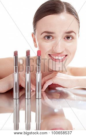 Young Smiling Woman With Glamour Red Lipsticks, Isolated On White Background.