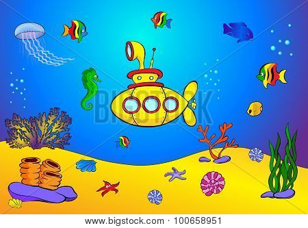 Yellow Submarine And Fish Under Water. Seahorse, Jellyfish, Coral And Starfish On The Ocean Floor.
