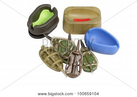 Three Mould And Five Fishing Feeder Isolated On A White Background