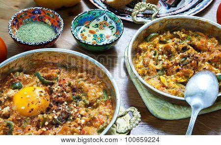 Turkish Menemen egg, tomatos, pepper