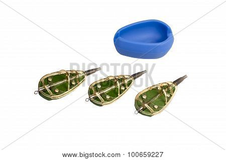 Mould And Three Fishing Feeder Isolated On A White Background