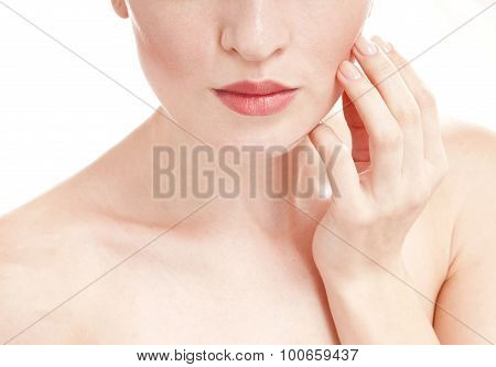 Woman With Well-groomed Skin  - Isolated On White Background. Skin Care Concept.