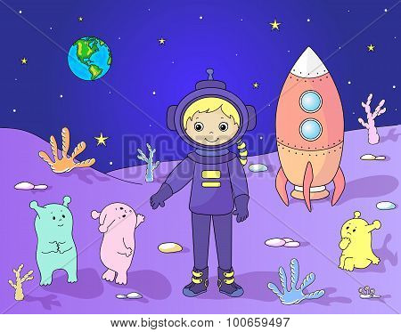 Cute Friendly Martians Greeting Astronaut On Their Planet. Cosmonaut Landed On The Moon's Surface