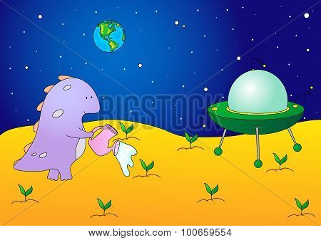 Cute And Friendly Alien Watering The Plants On His Planet. Flying Saucer Is Standing On The Surface