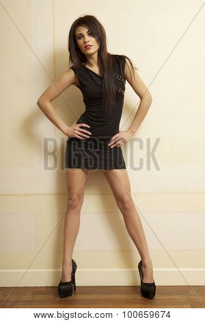 Portrait of a beautiful sexy and attractive young adult female pretty brunette sensuality woman posing in black dress in retro style apartment